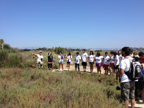 Student group on a tour at Ballona Wetlands