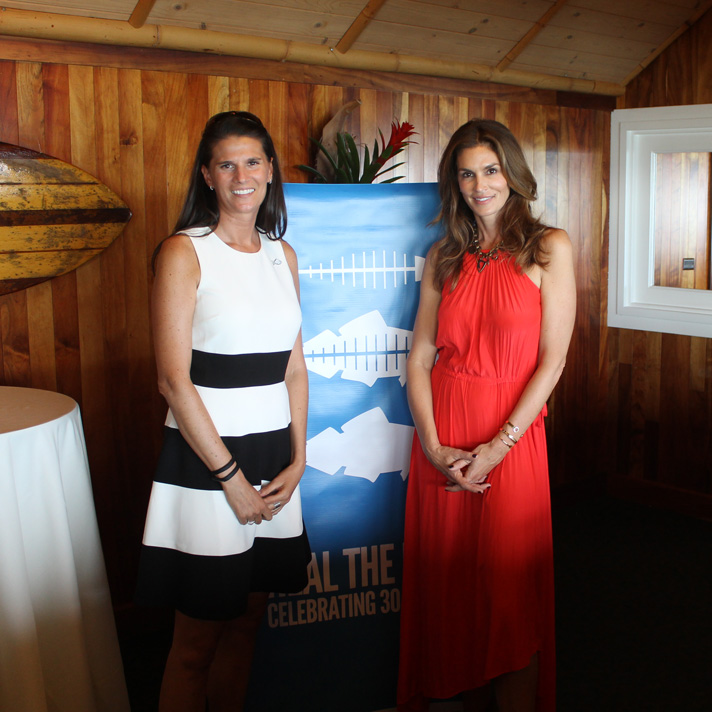Cindy Crawford and Heal the Bay president Alix Hobbs at Duke's Malibu
