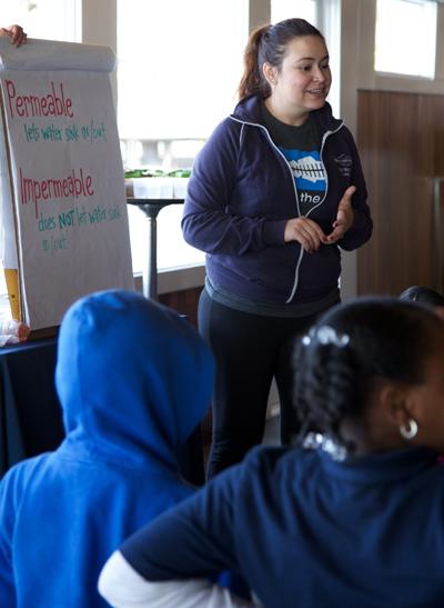 Heal the Bay's Melissa Aguayo teaching at Duke's Malibu during Lunch n' Learn