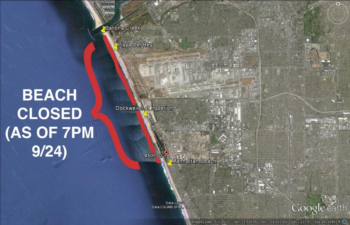 Dockweiler Hyperion sewage spill beach closure map