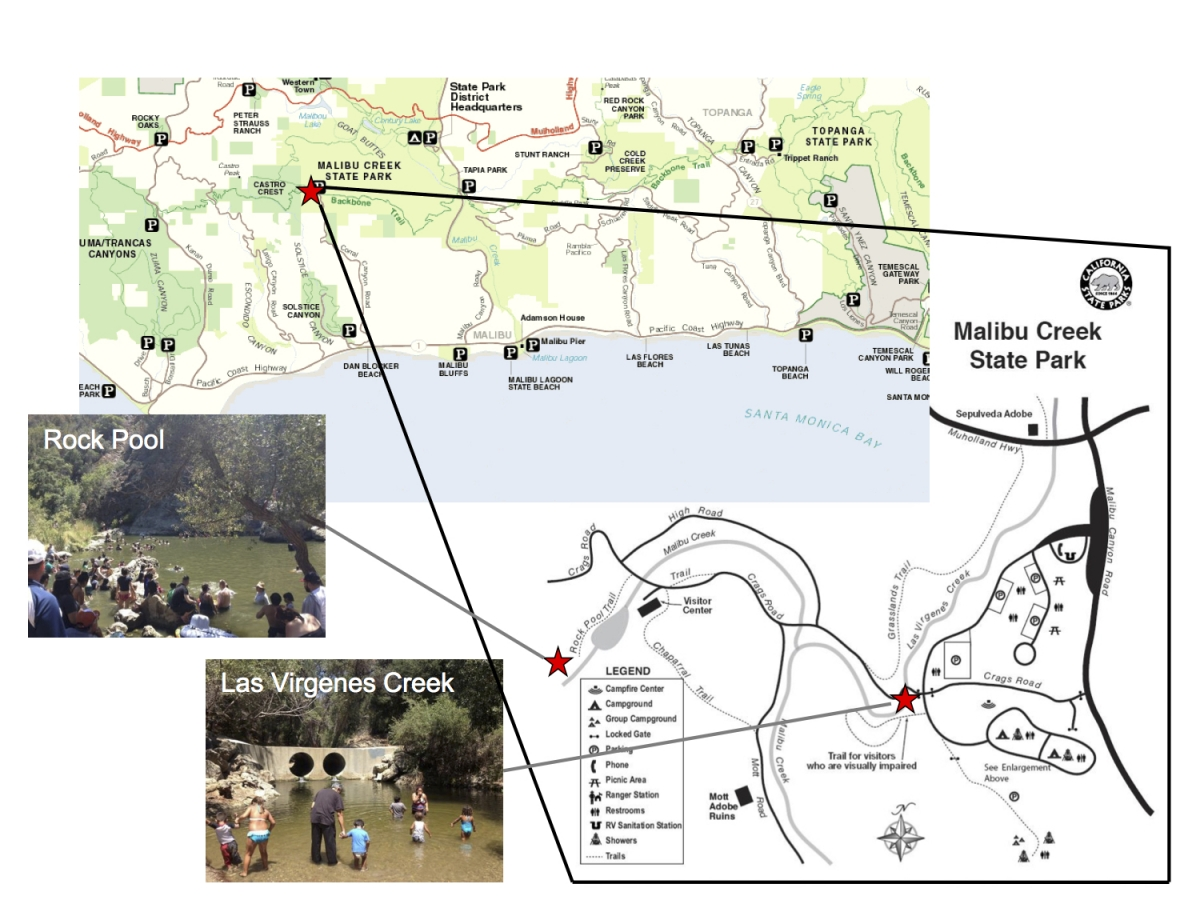 Malibu Creek State Park testing sites map