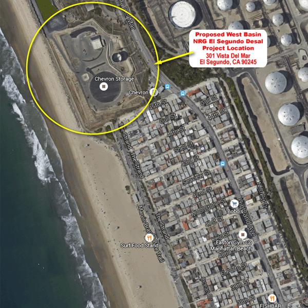 Proposed location of plant, between El Segundo and Manhattan Beach