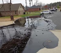 Oil spill in city street