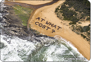 At What Cost? Desalination plant protest aerial photo by Greg Noakes