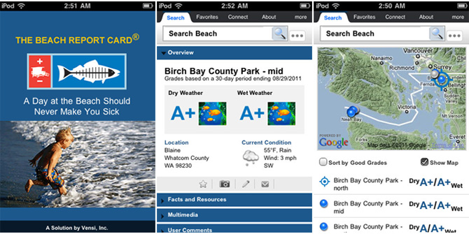 Beach Report Card app screens