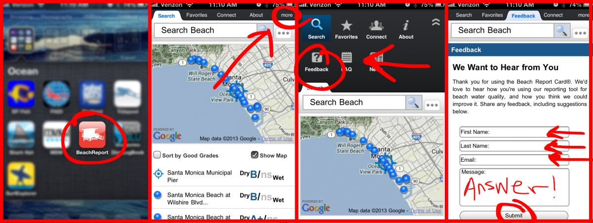 How-To Leave Feedback on the Beach Report Card App