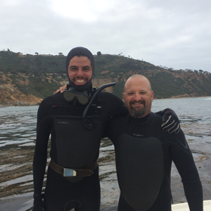 José and Laz ready to collect seaweed at Palos Verdes