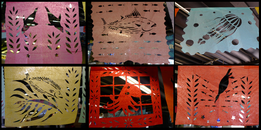 Santa Monica Pier Aquarium Dia de los Muertos Halloween Celebration Ocean Inspired Papel Picado