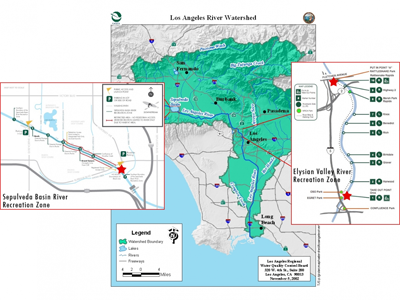 L.A. River testing sites map