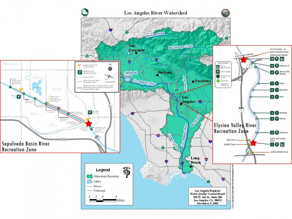 Water Quality Study Of LA River Rec Zones Heal The Bay - Los angeles river kayak map
