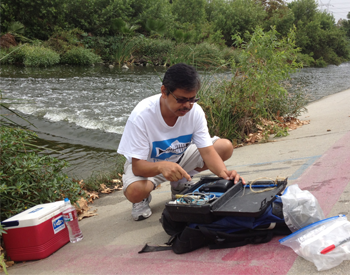 Taking samples at the L.A. River