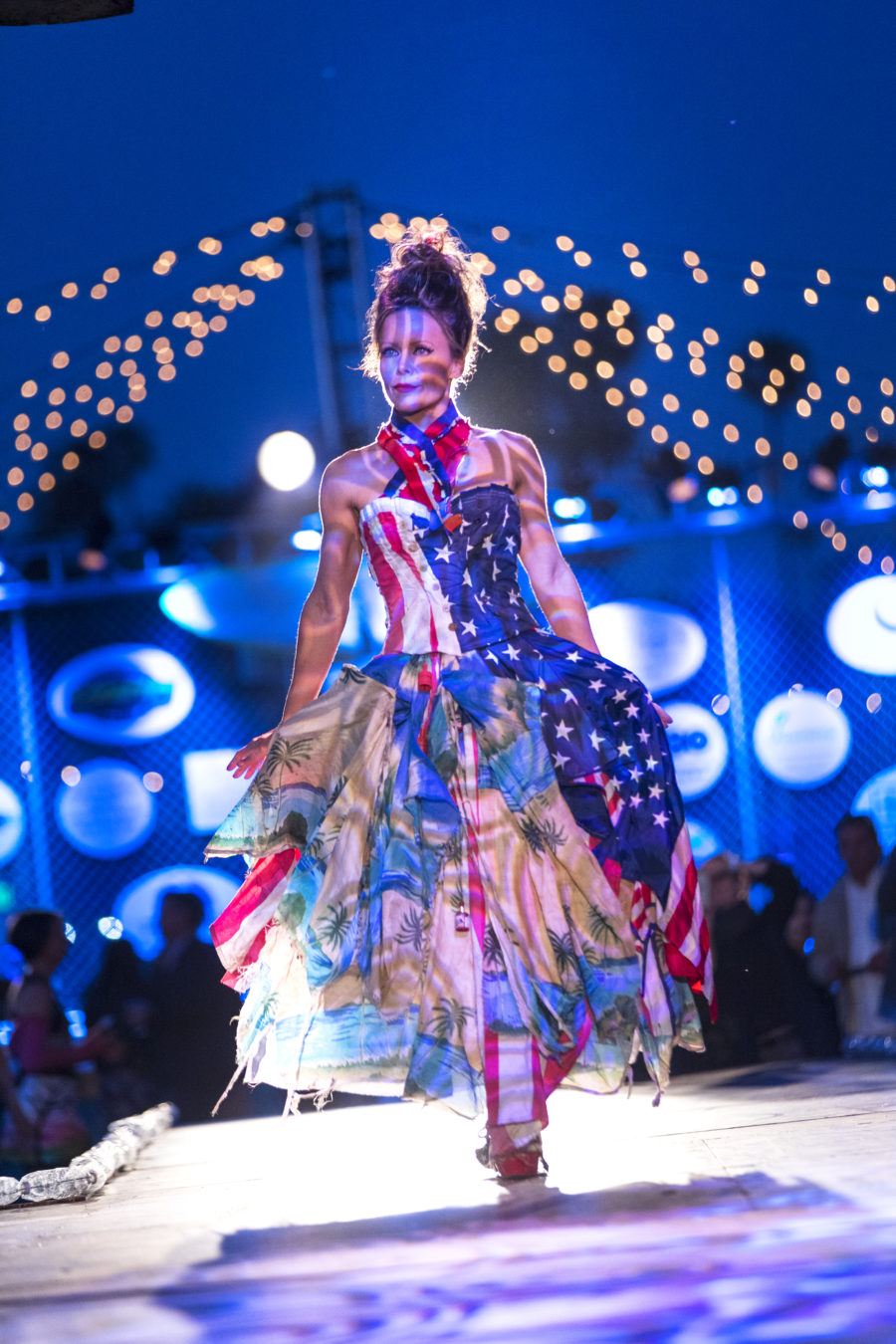 "This guest model is wearing ""Old Glory,"" constructed from the American flag and fireworks found on our beaches and streets. (Photo by David Young-Wolff)"