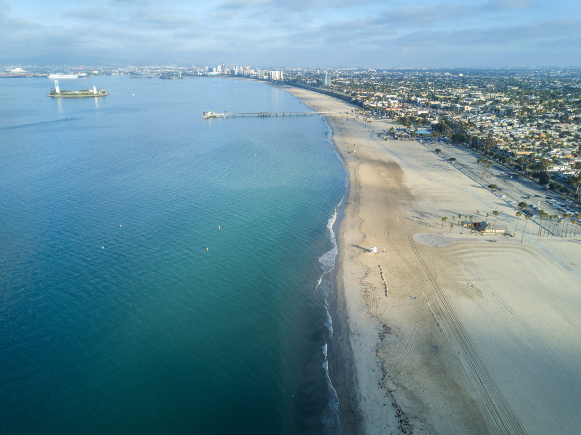 Drone view on Long Beach, USA