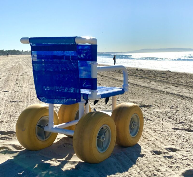 Beach wheelchair facing ocean