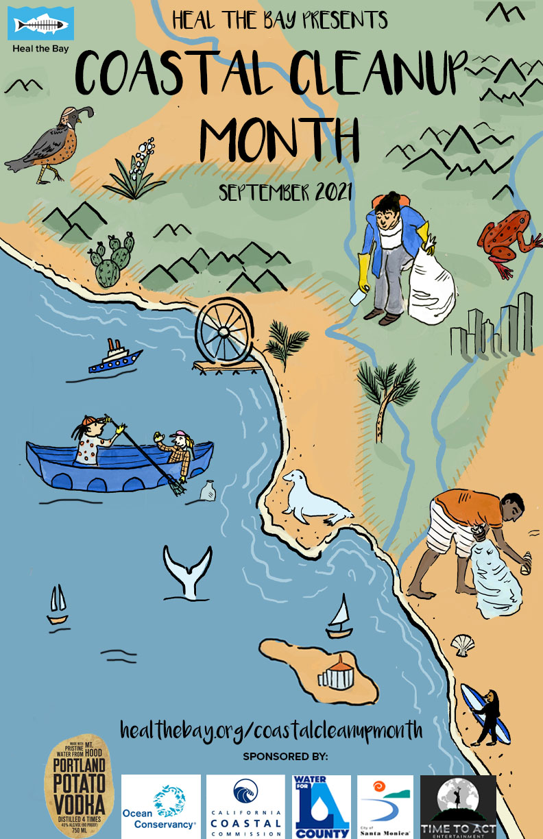 Heal the Bay Coastal Cleanup Month Poster 2021 by Kelsey Davenport